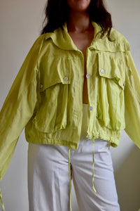 Cropped Key Lime Cotton Jacket FREE SHIPPING