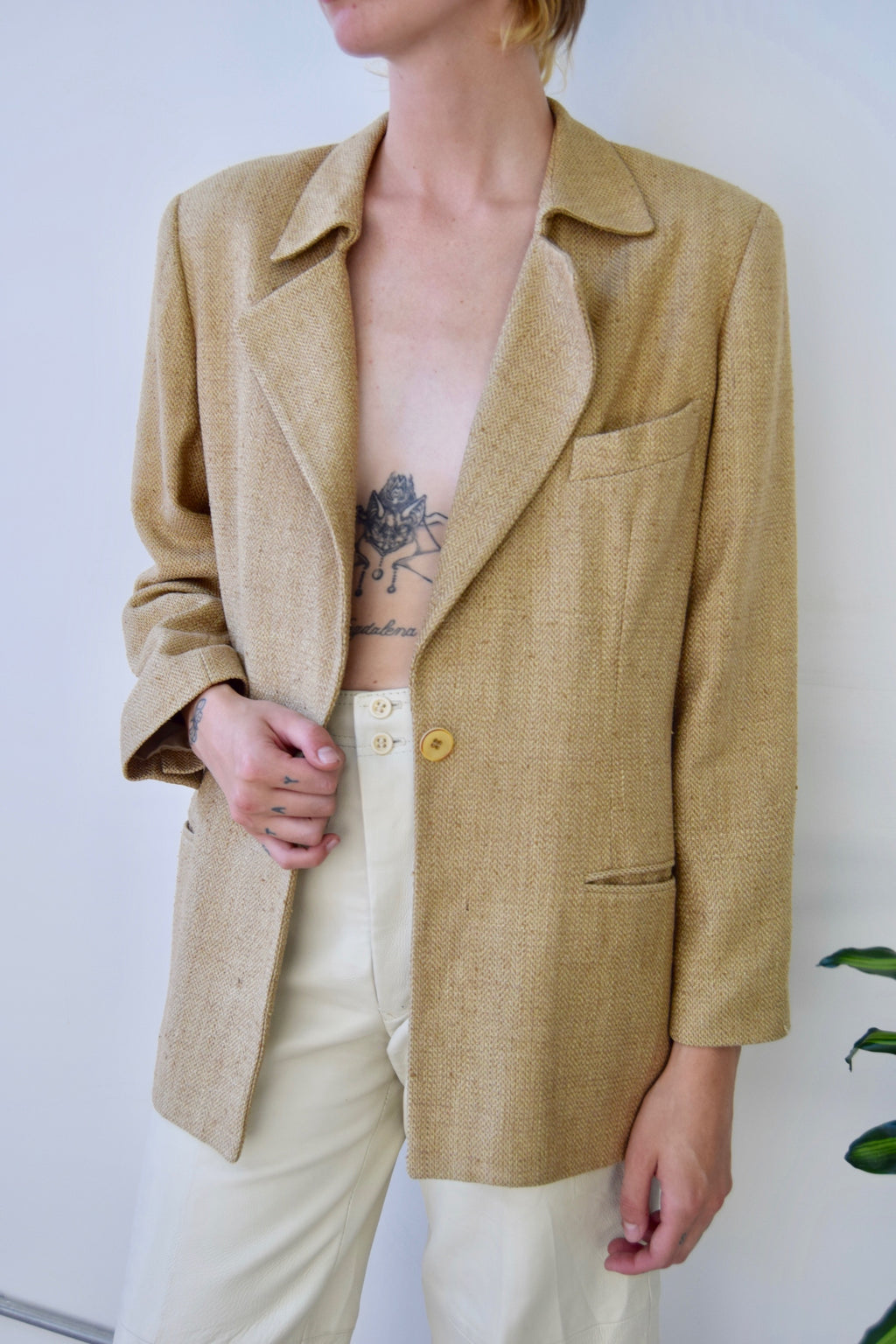 Burberry Golden Sand Silk Blazer