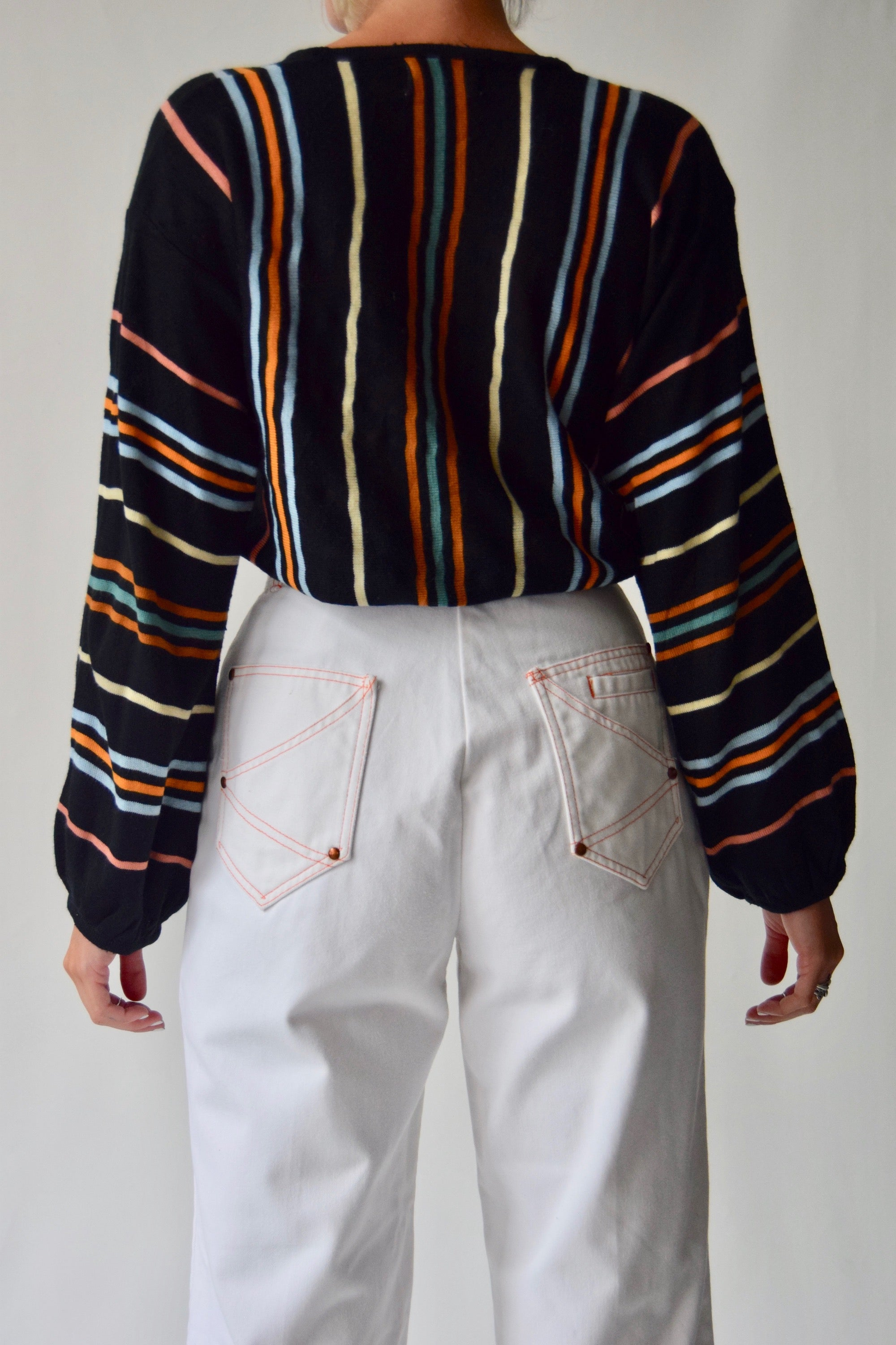 Vintage White & Orange Seamed Bell Bottoms
