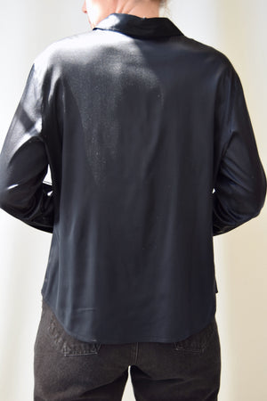 Glossy Black Holt Renfrew Silk Top