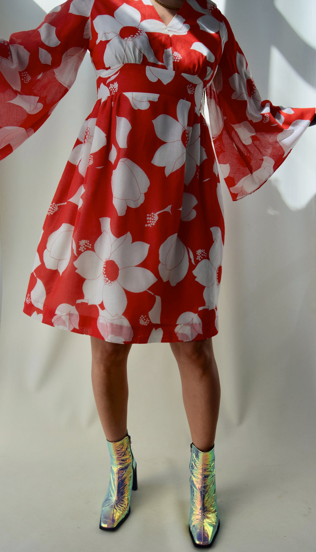 Vintage 1960's Candy Red Floral Dress FREE SHIPPING TO THE U.S.