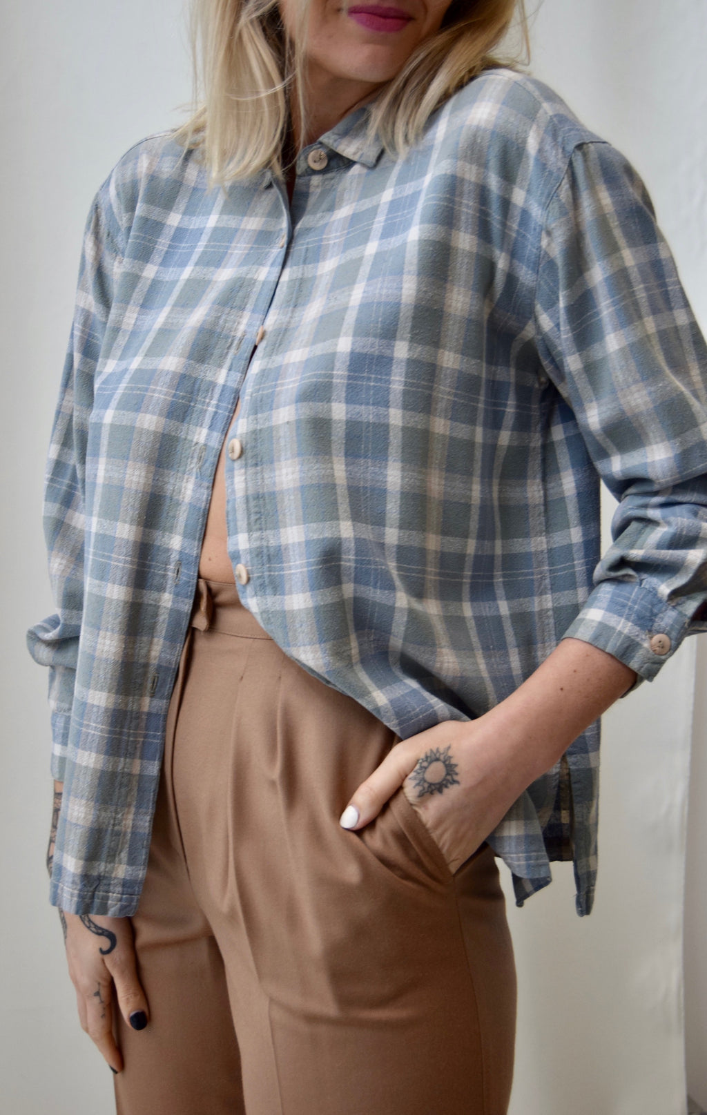 Raw Silk Pastel Plaid Long Sleeve Button Up FREE SHIPPING TO THE U.S.