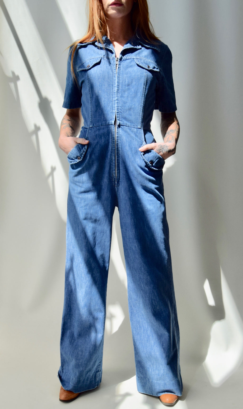 1970's Denim Flaired Jumpsuit
