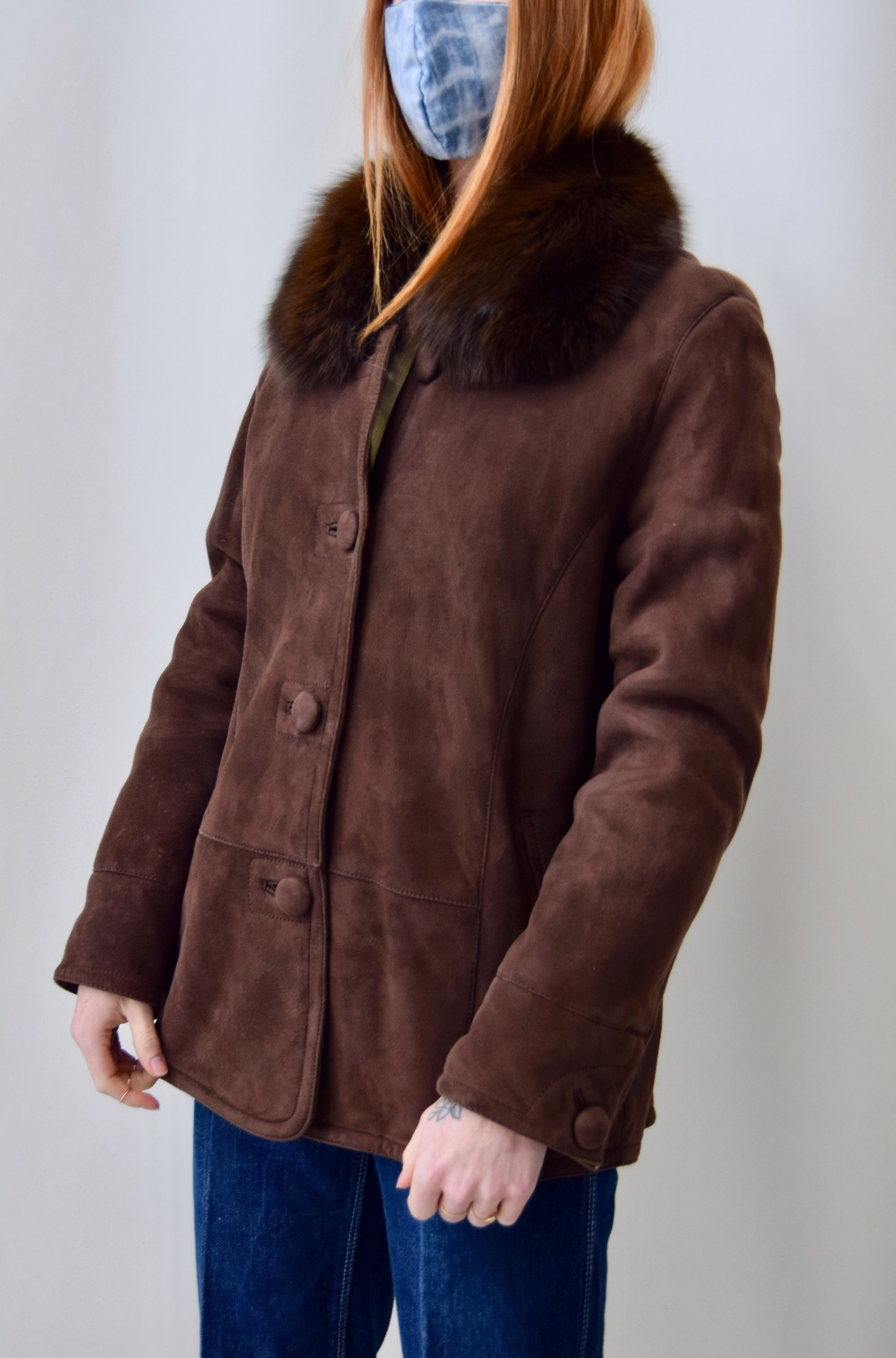 Chocolate Suede Fur Collared Coat