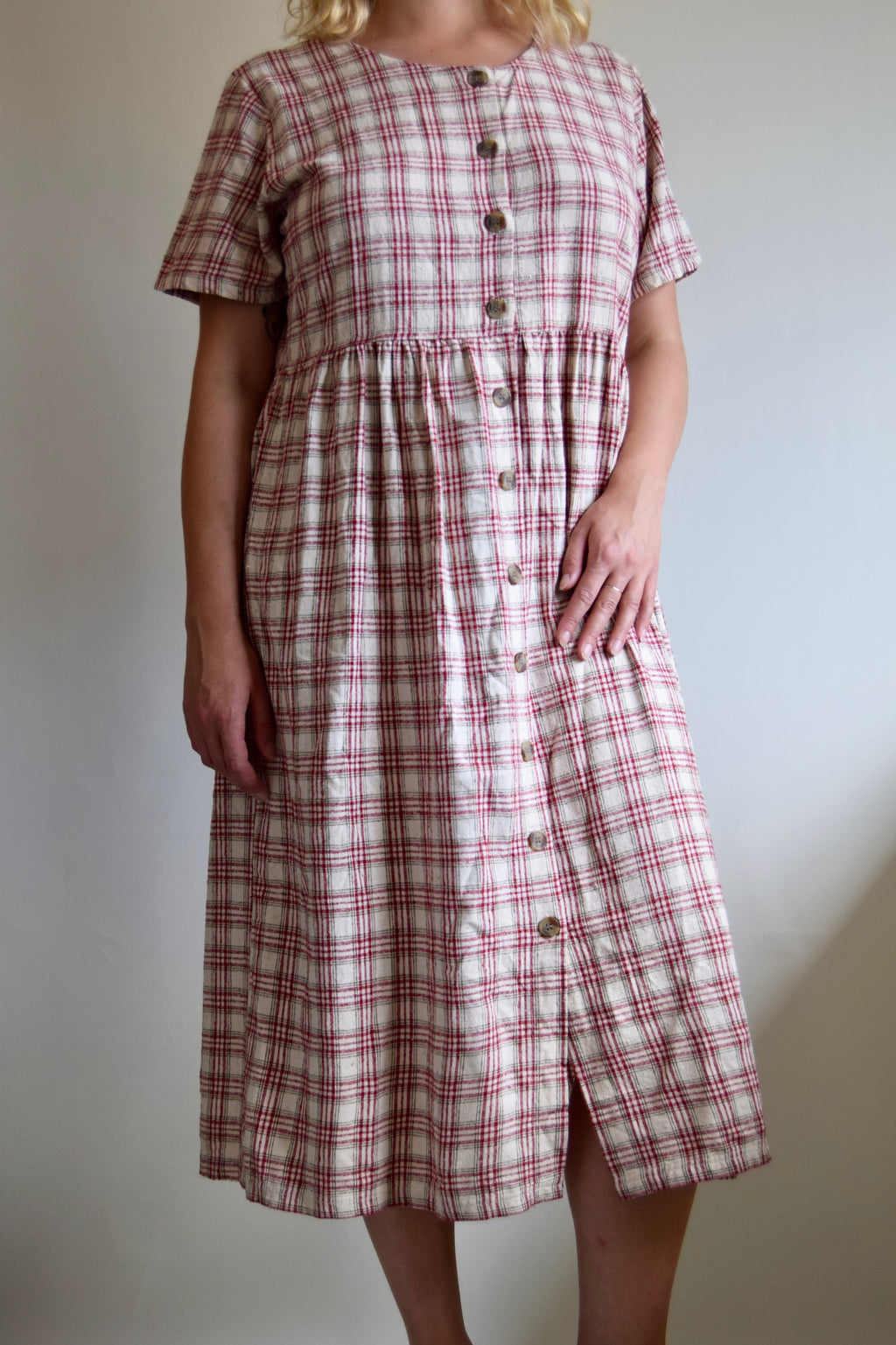 Raw Silk Oatmeal and Cranberry Plaid Dress