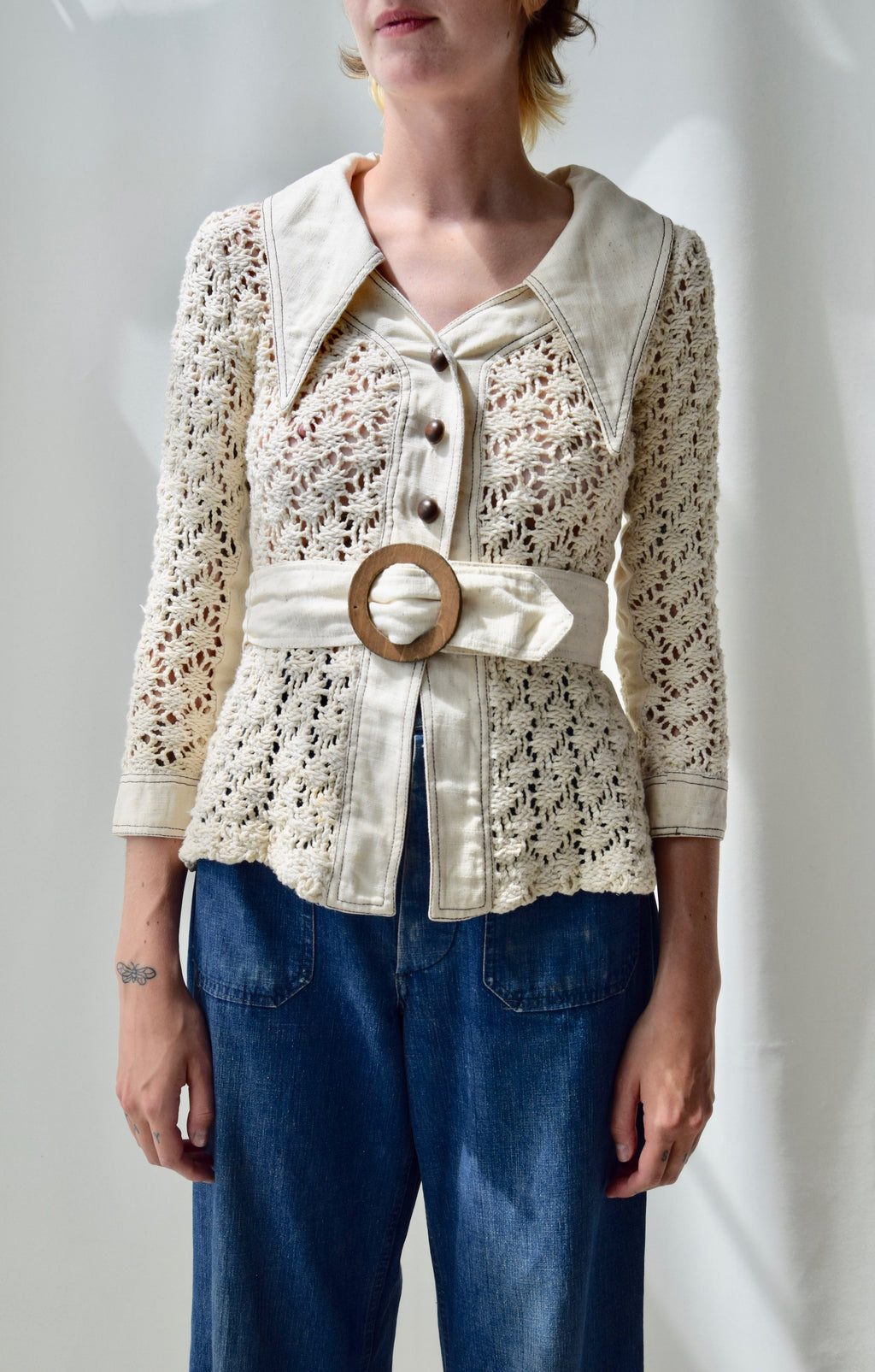 1970's Crocheted Cotton Jacket Top