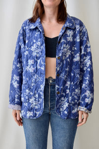 Reversible Periwinkle Silk Quilted Jacket