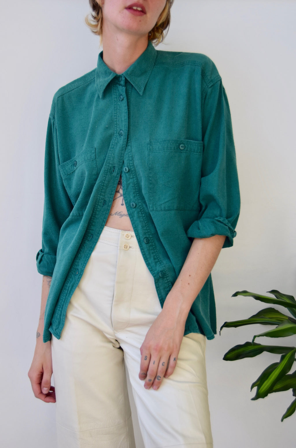 Pine Raw Silk Top