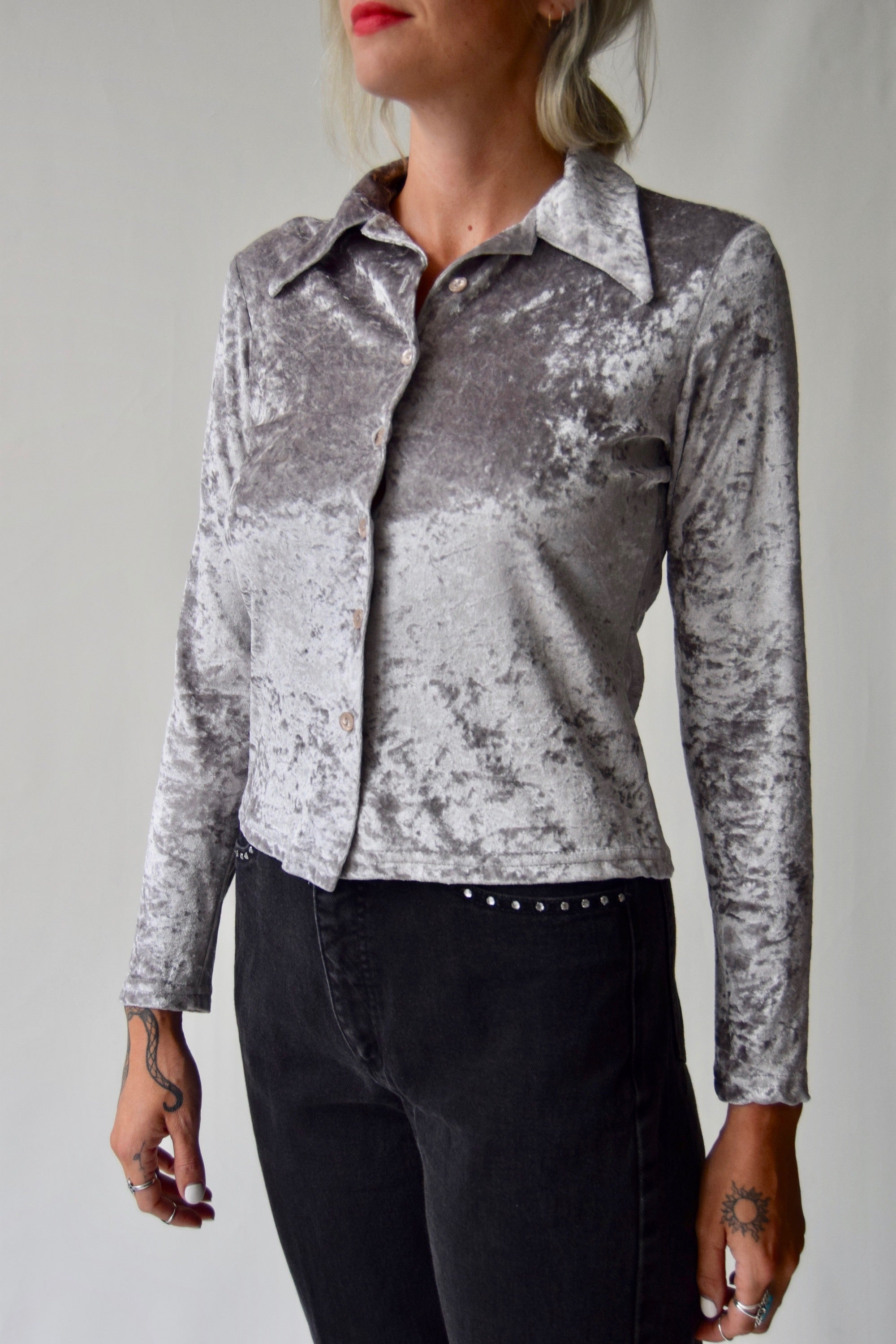 Vintage Crushed Velvet Silver Fox Button Up