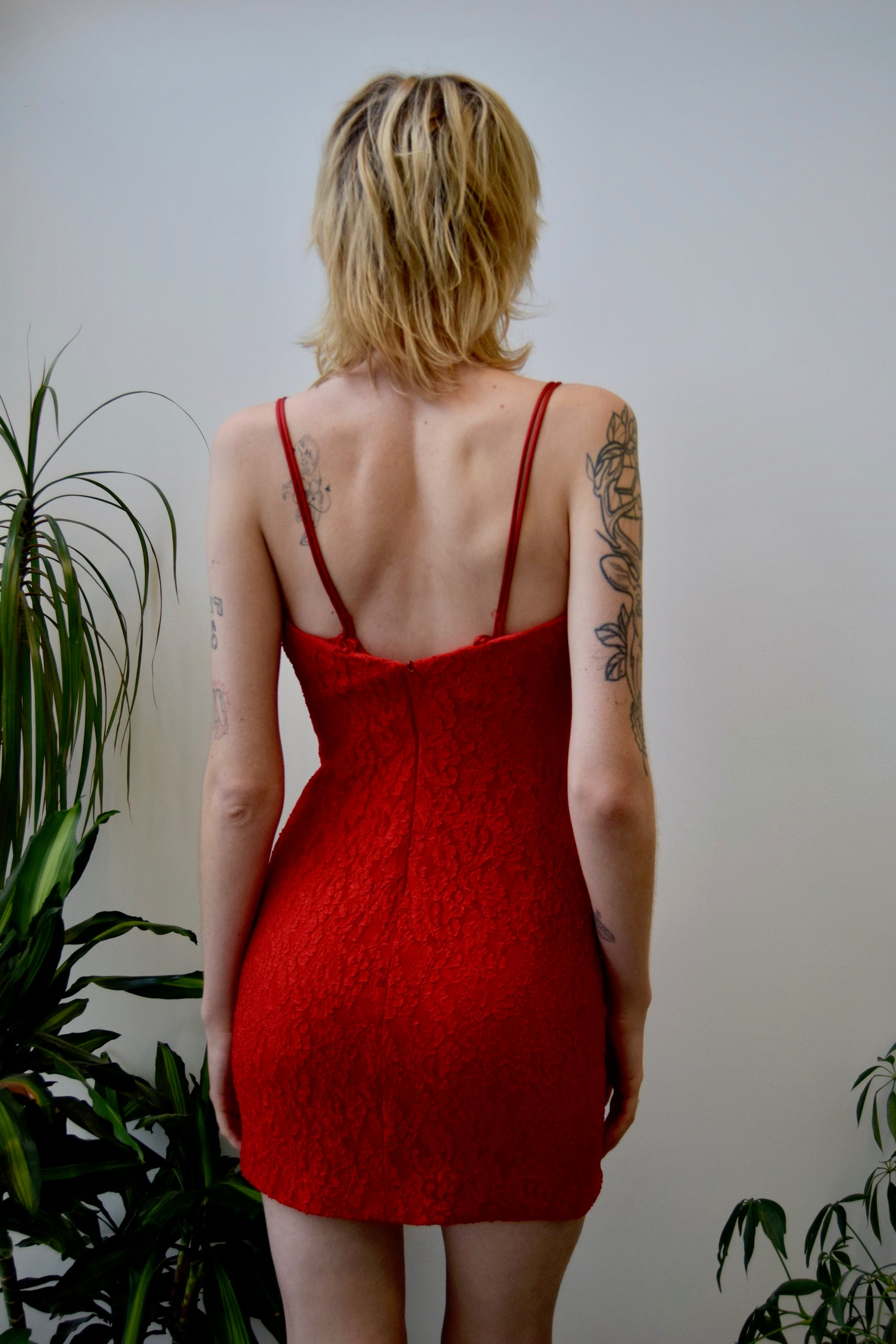 Nineties HOT Red Lace Mini Dress