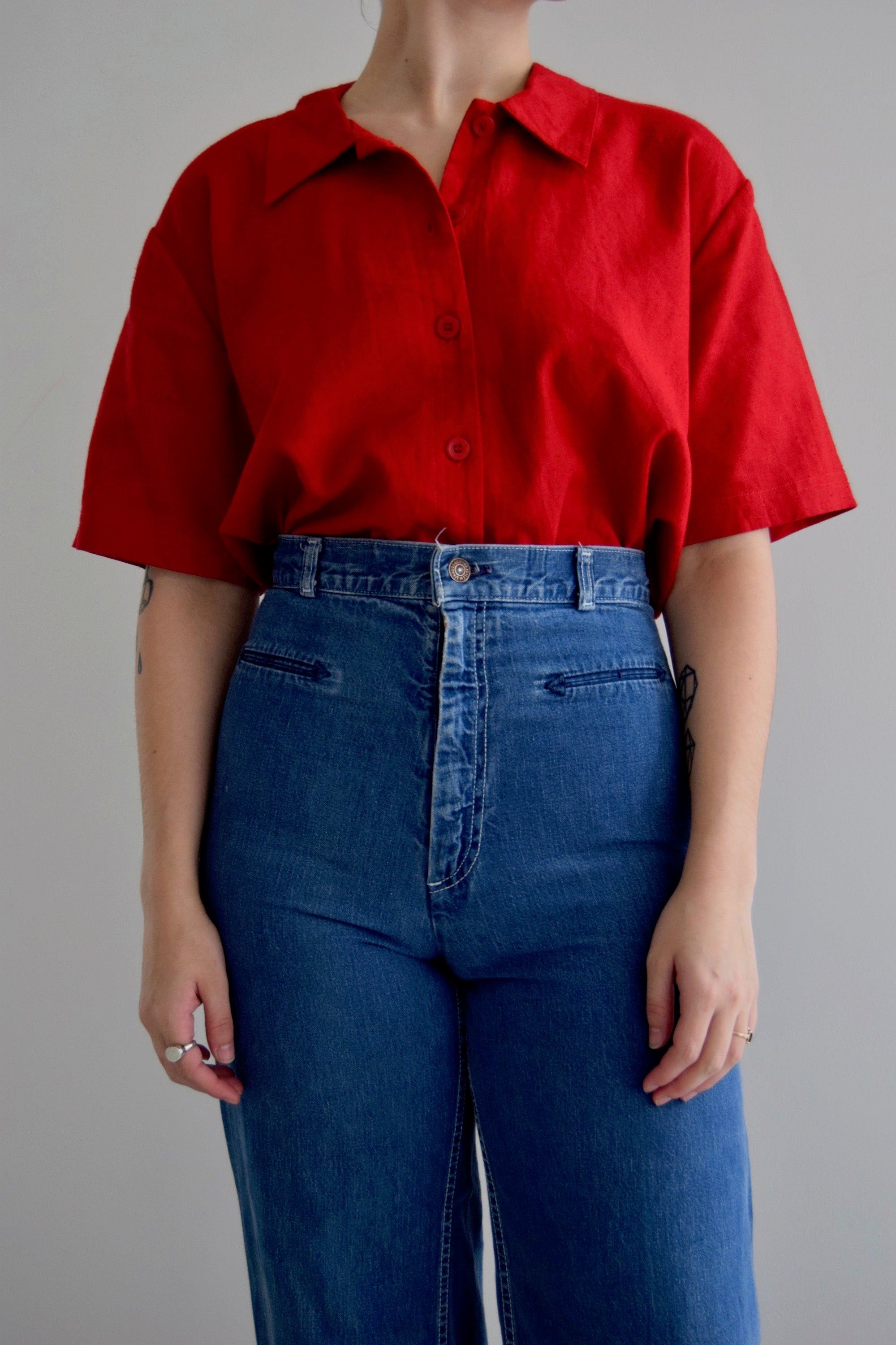 Corvette Red Linen Boxy Button Up Top FREE SHIPPING TO THE U.S.