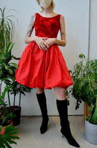 Sixties Floral Velvet Bubble Dress
