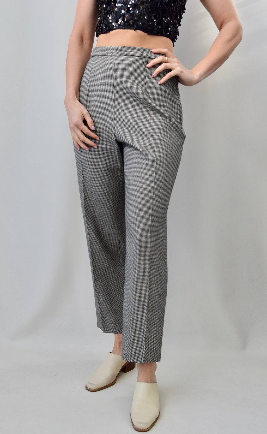 Stretch Wool Houndstooth Pants