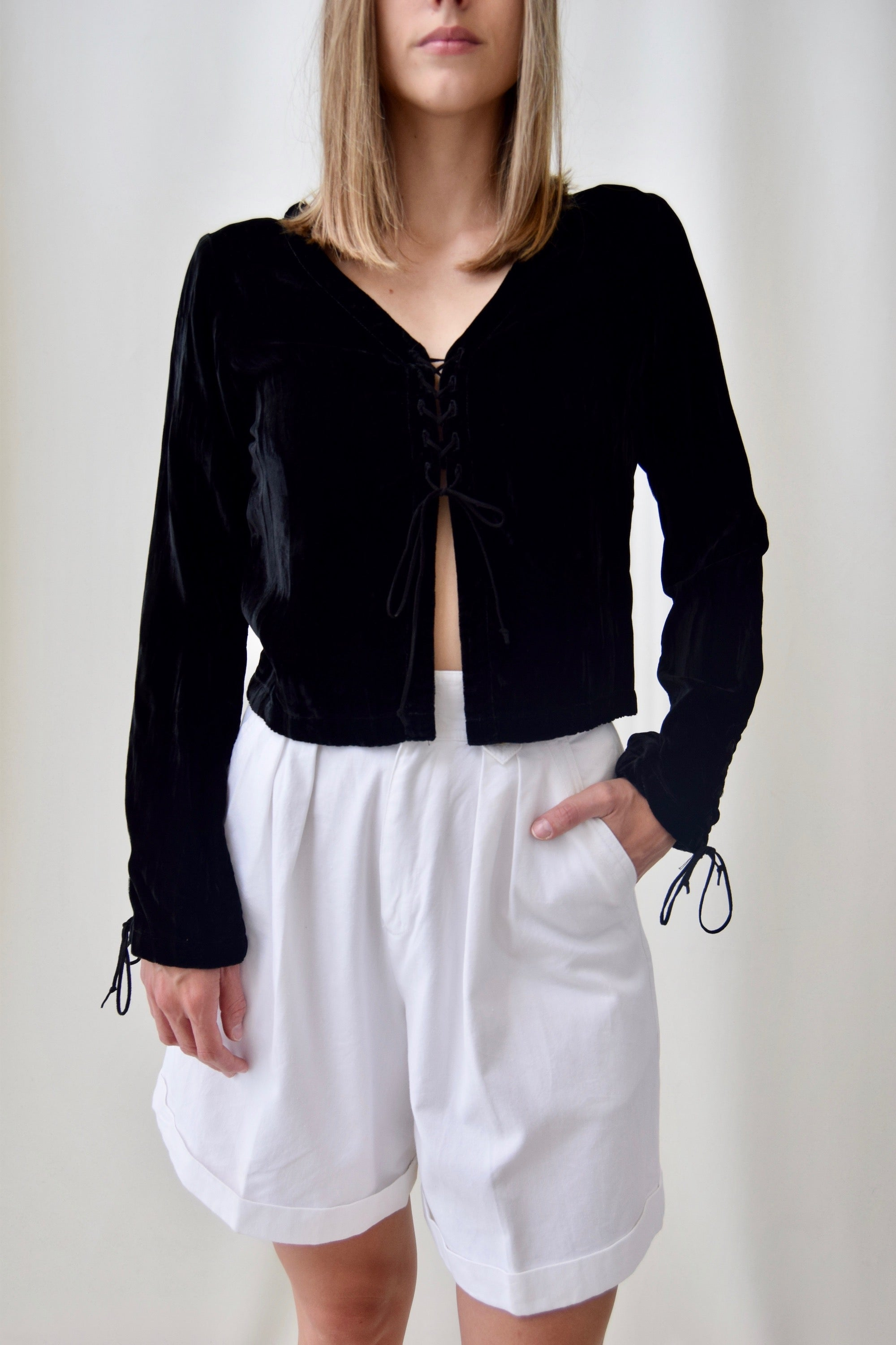 90's Black Velvet Renaissance Revival Top