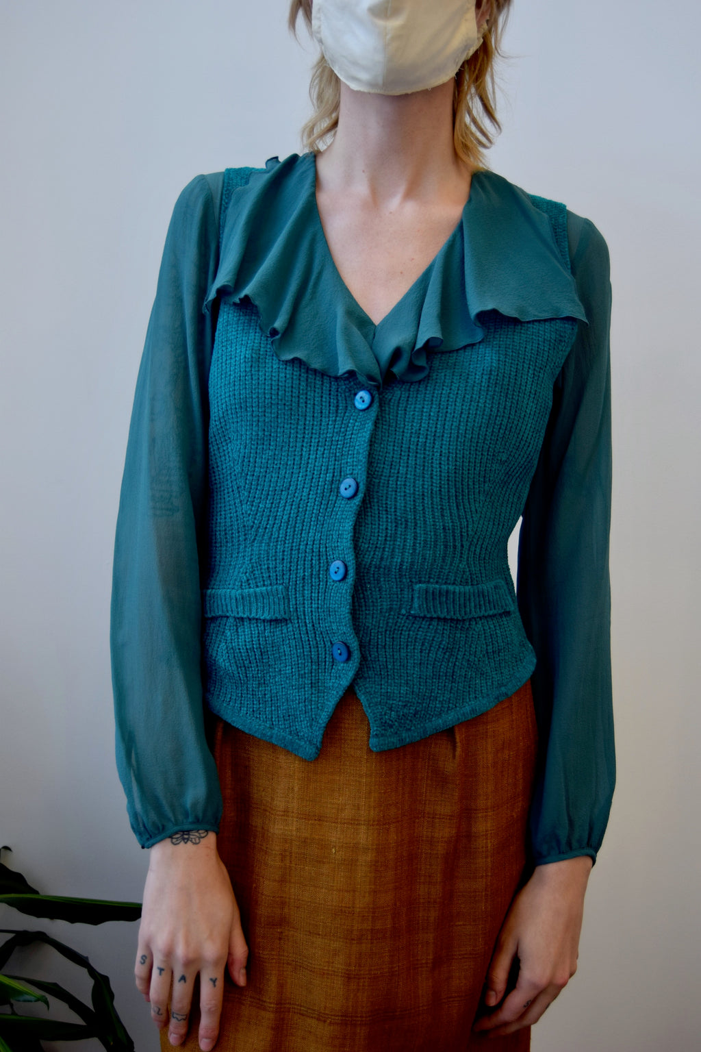 Teal Chenille Sweater Vest