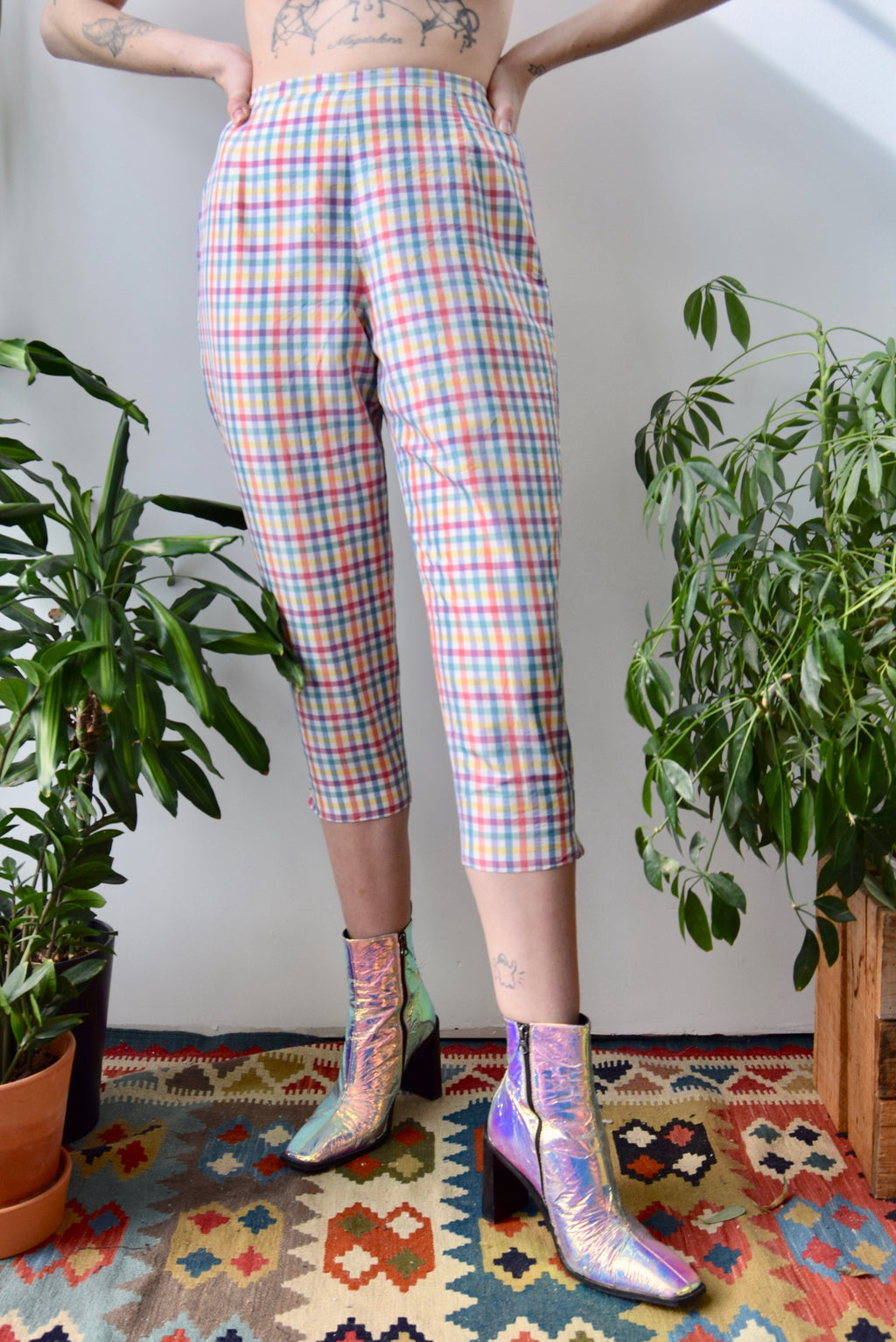 Silk Rainbow Gingham Pedal Pushers