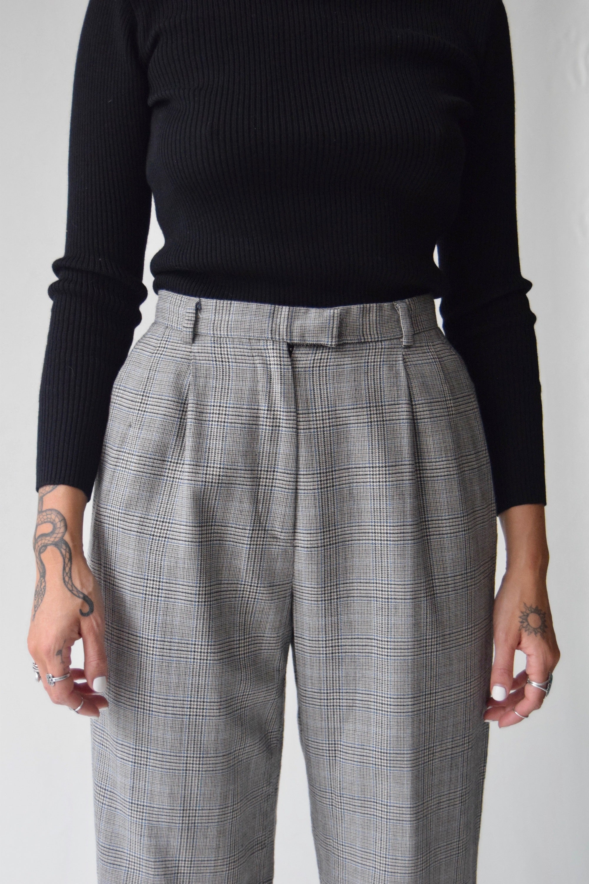 Black and Ivory Plaid Pure Wool Trousers