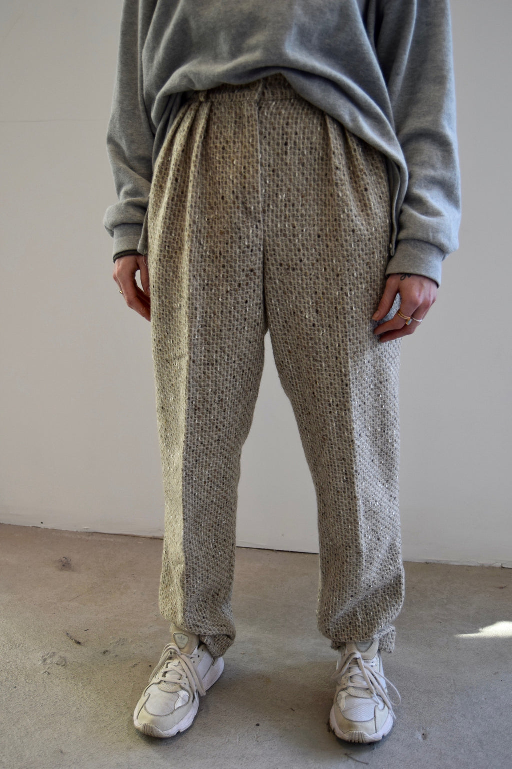 Pebbled Oatmeal Wool Trousers