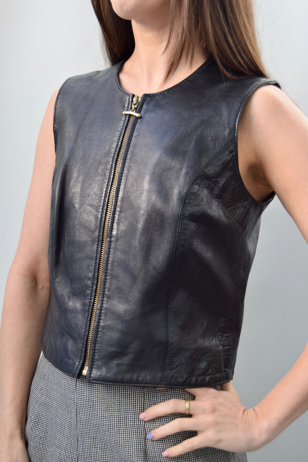 "Nineties ""Nordstrom"" Leather Artist Vest Top"