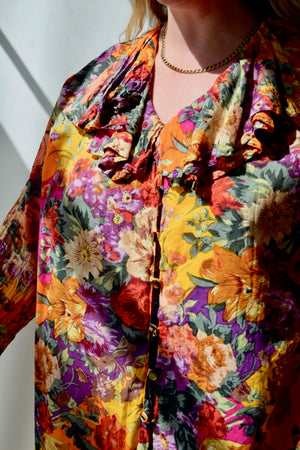 Warm Floral Ruffle Top