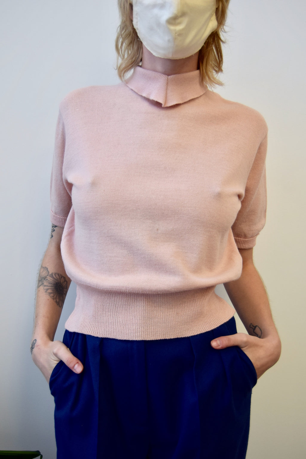 Fifties Baby Pink Sweater Top
