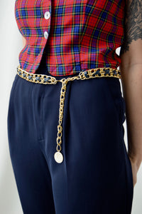 Navy Threaded Gold Chain Link Medallion Belt FREE SHIPPING TO THE U.S.