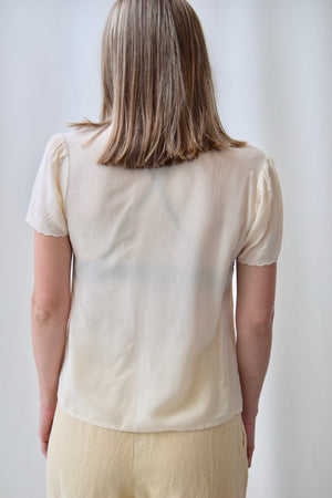 Cream Silk Cut Out Top