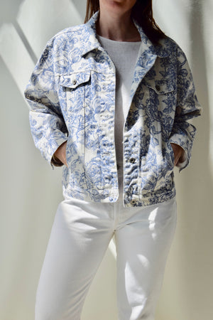 90's Wedgewood Floral Denim Jacket