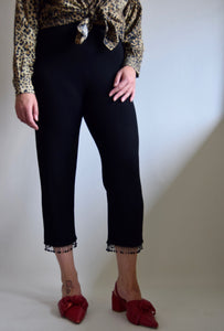 Vintage Black Beaded Fringe Cropped Trousers