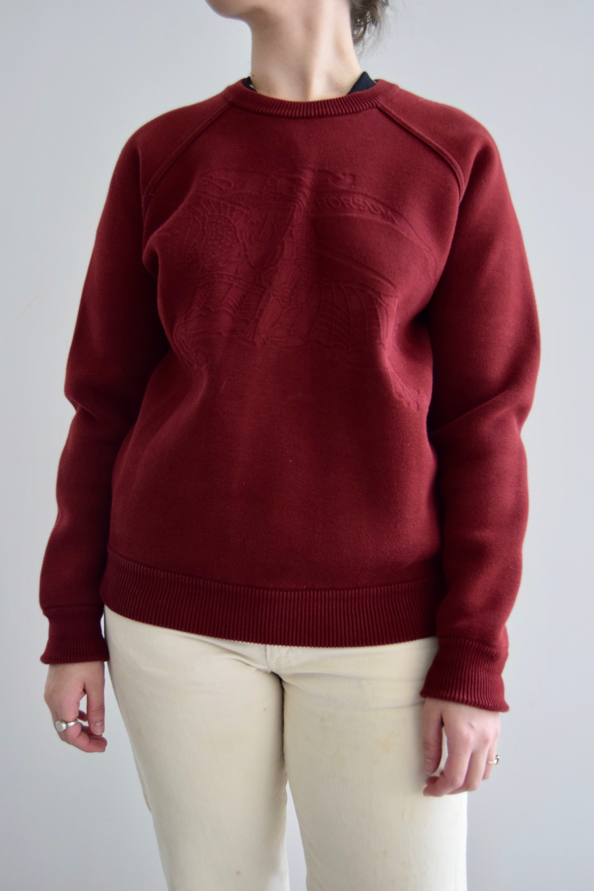 Burberry Brit Merlot Red Embossed Logo Sweatshirt