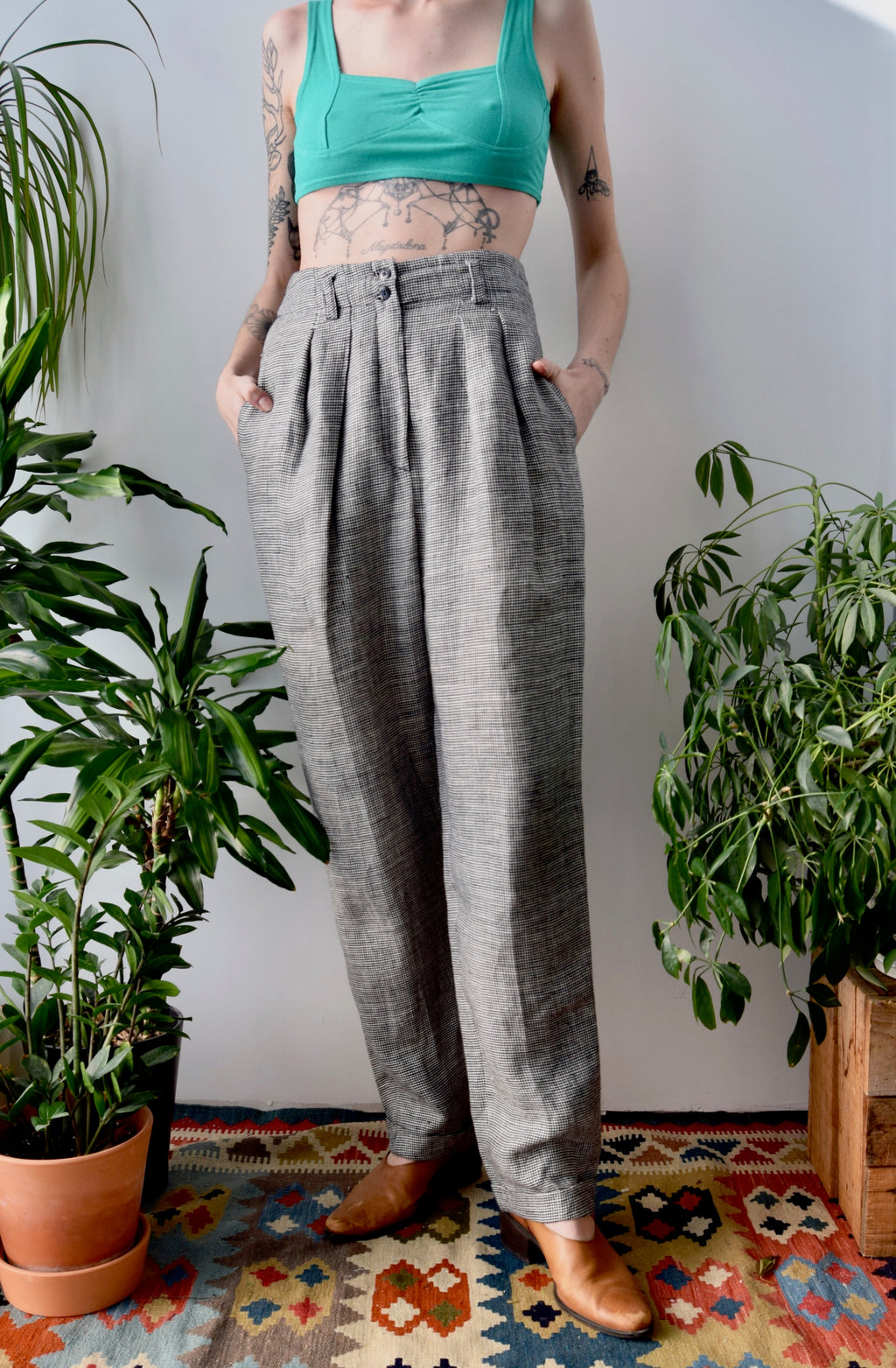 Linen Houndstooth Pants