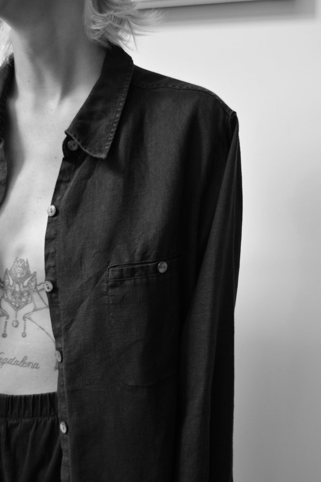Staple Black Linen Button Up