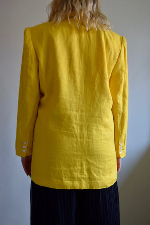 Canary Yellow Linen Boyfriend Blazer