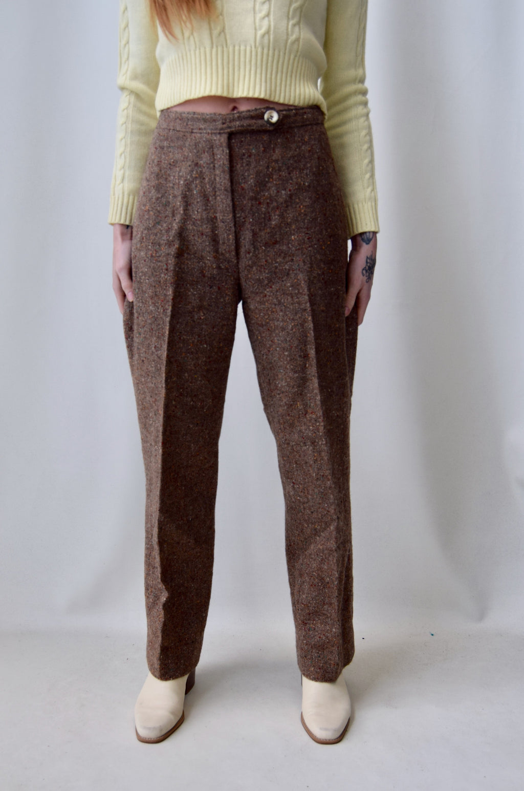 Speckled Umber Wool Trousers