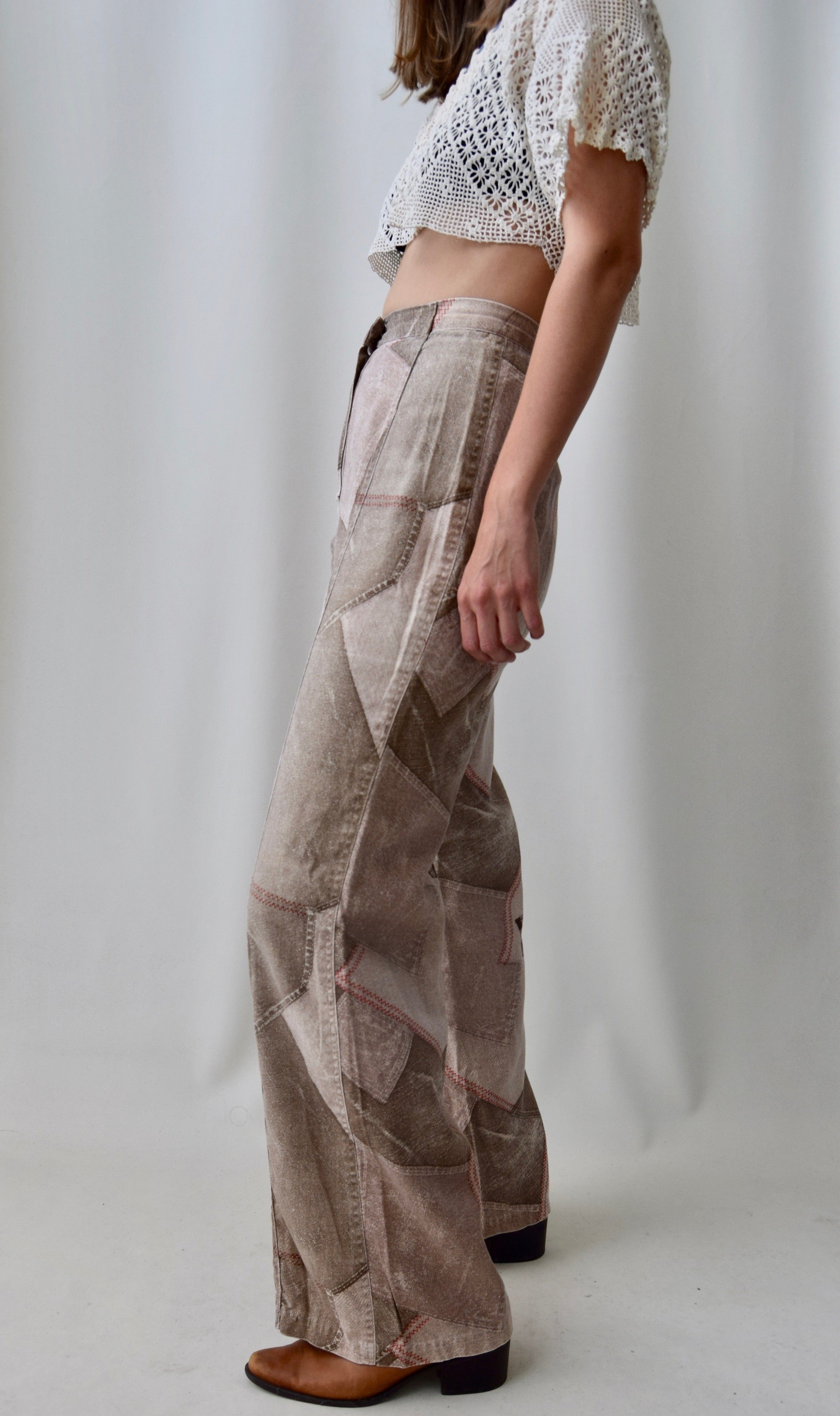 1970's Faux Patchwork Trousers