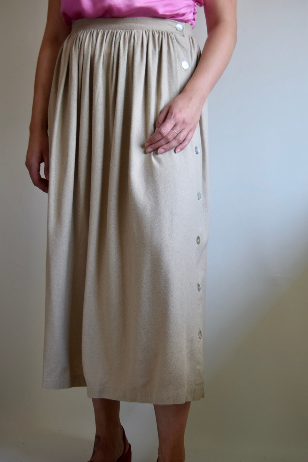 Cappuccino Raw Silk Skirt FREE SHIPPING TO THE U.S.