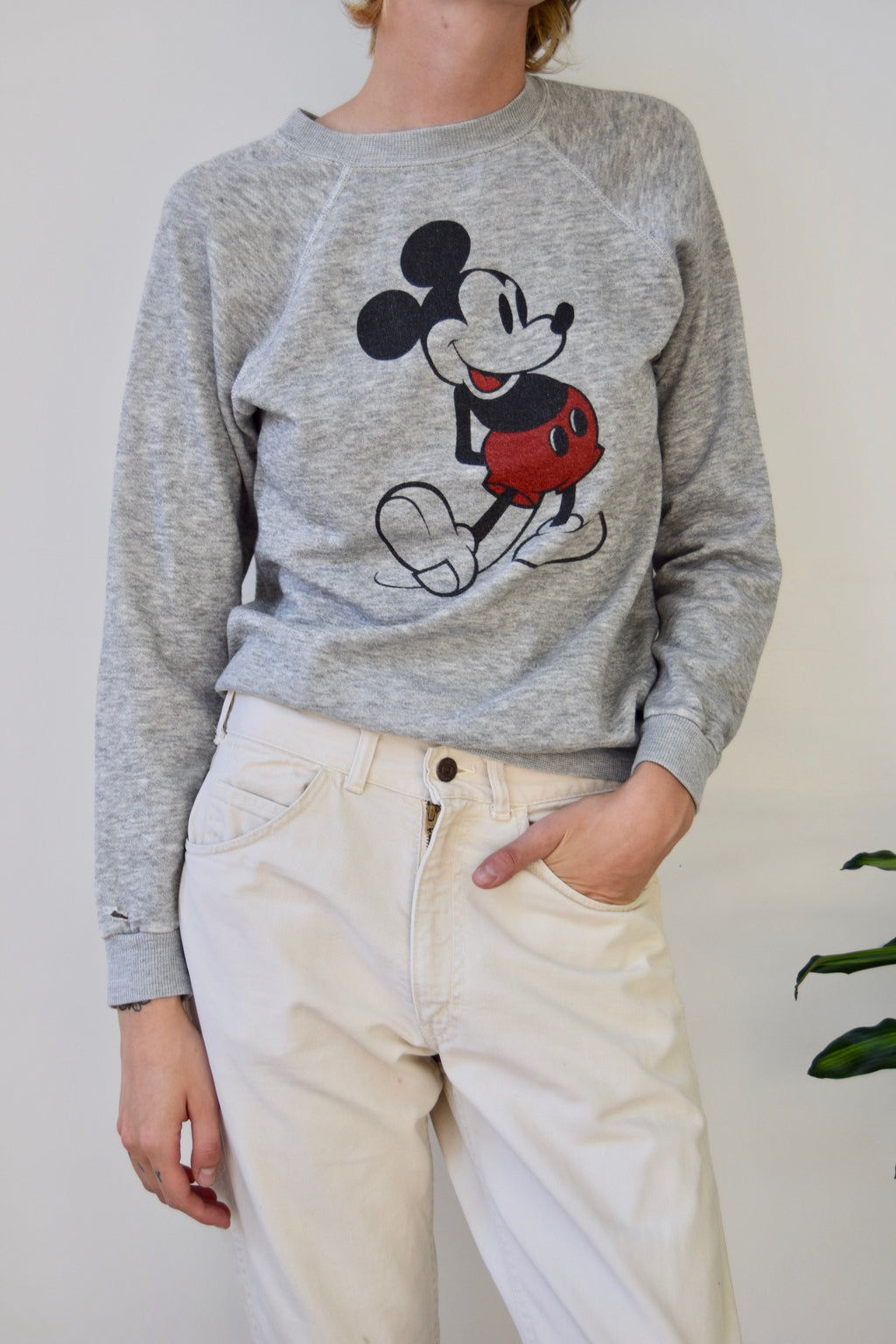 Vintage Heather Grey Mickey Mouse Sweatshirt