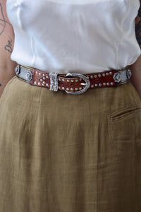 Vintage 90's Italian Leather & Metal Embellished Belt