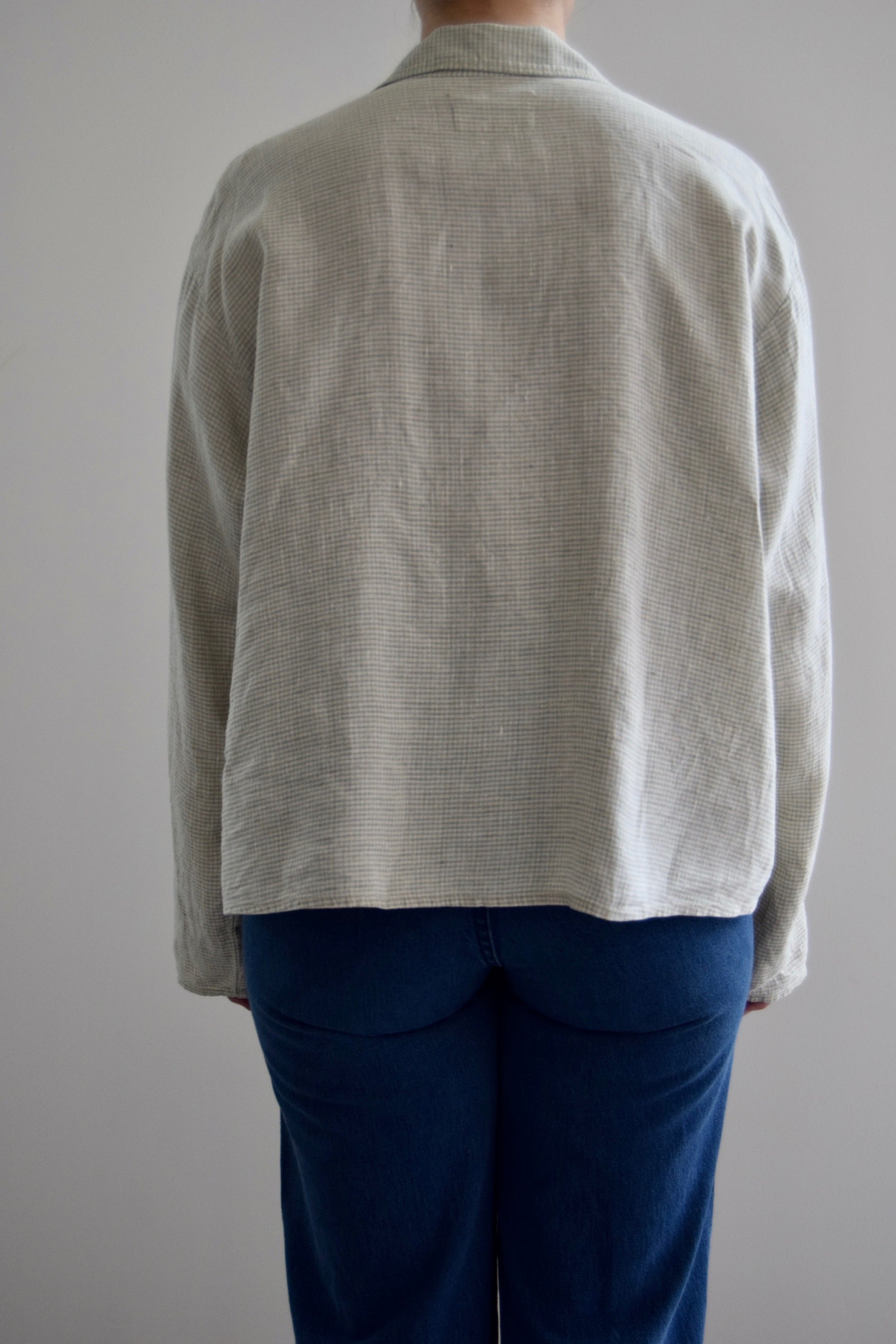 FLAX Linen Cropped Light Green Jacket Top