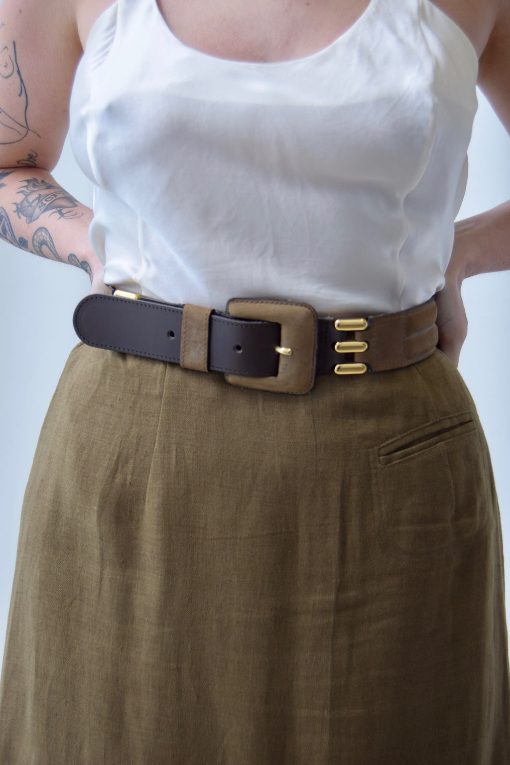 Vintage 90's Italian Made Olive & Gold Buckle Belt
