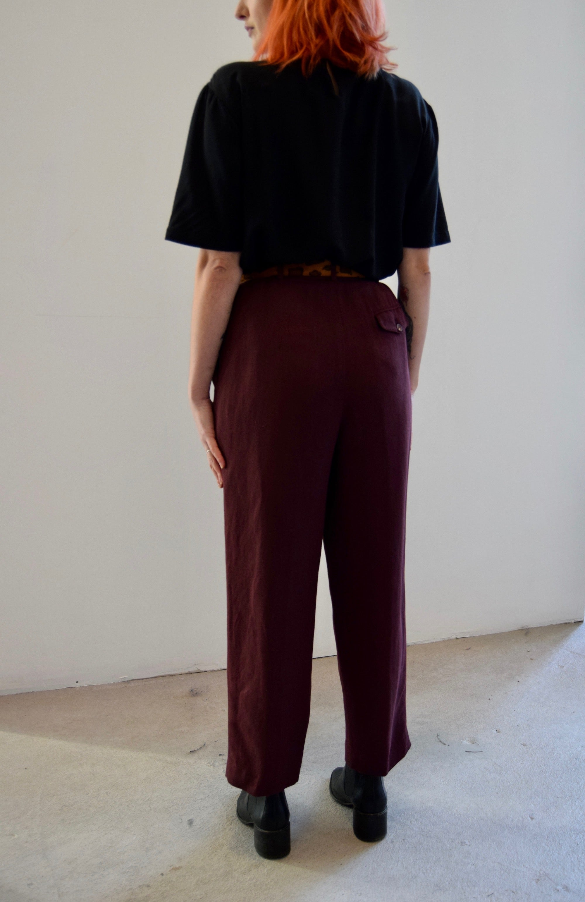 Shiraz Maroon Linen and Rayon Trousers