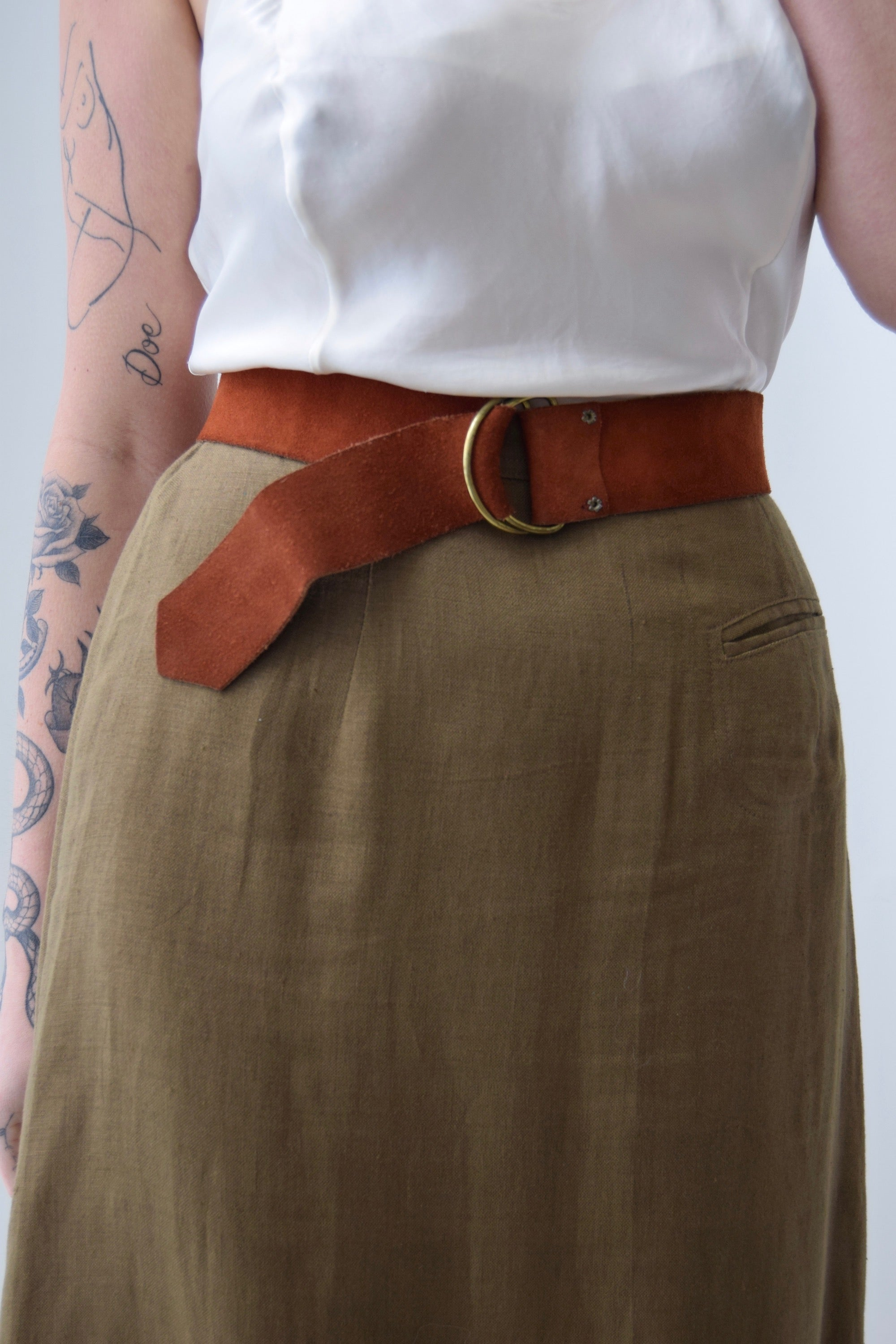 Vintage Cherry Brown Suede D Ring Belt FREE SHIPPING TO THE U.S.