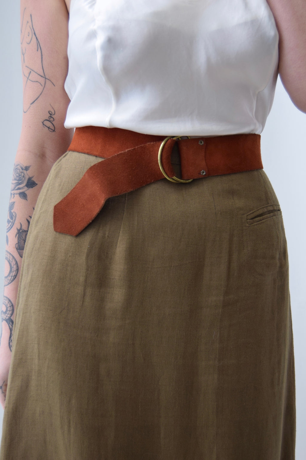 Vintage Cherry Brown Suede D Ring Belt