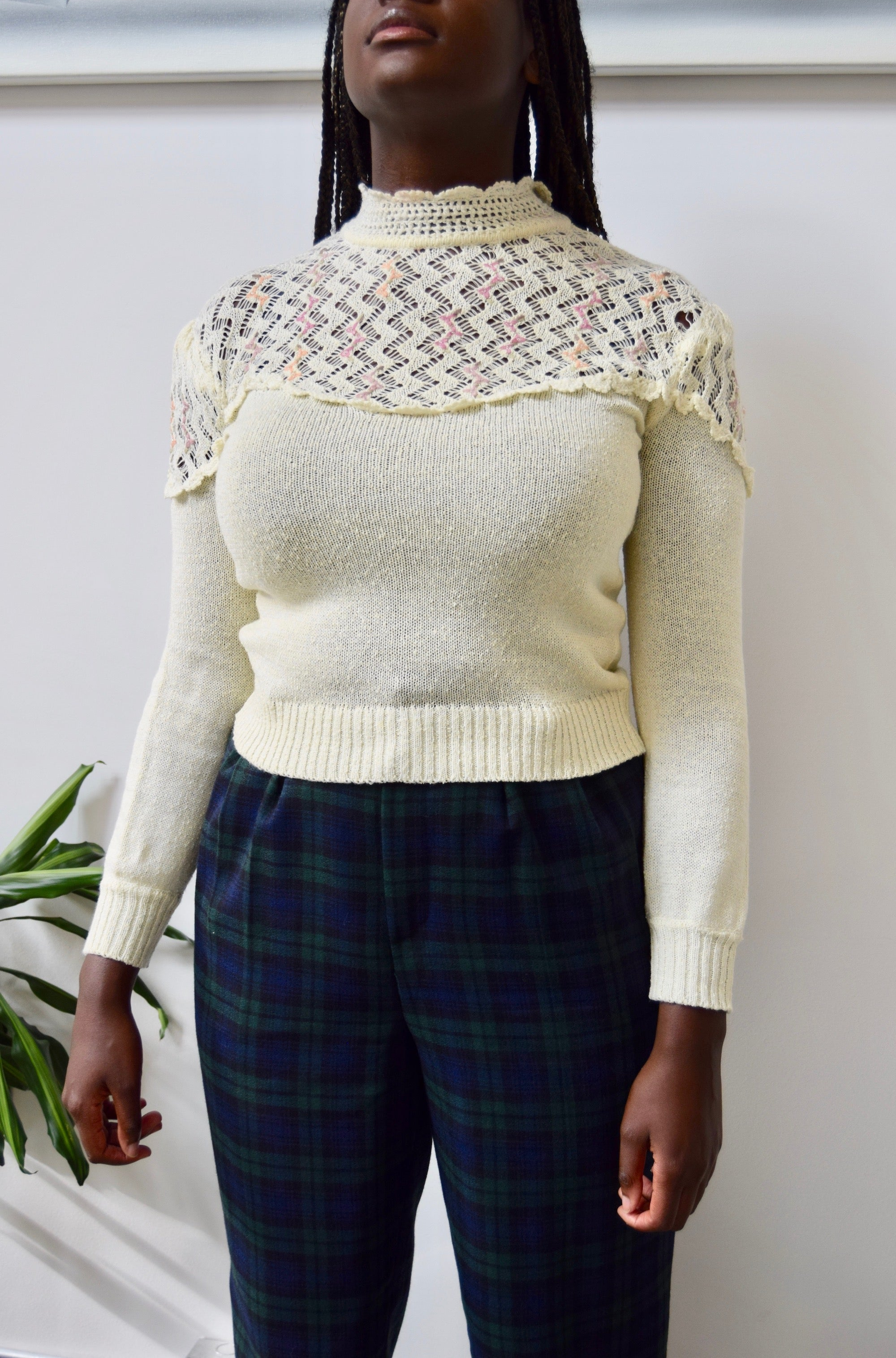 High Neck Crochet Knit
