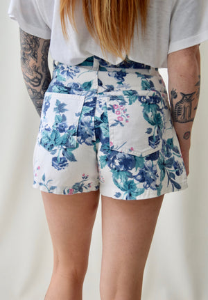 Floral Wallpaper Denim Shorts