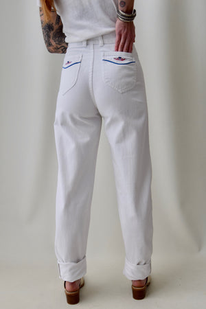 "1970's White High Waisted ""Pulse"" Jeans"