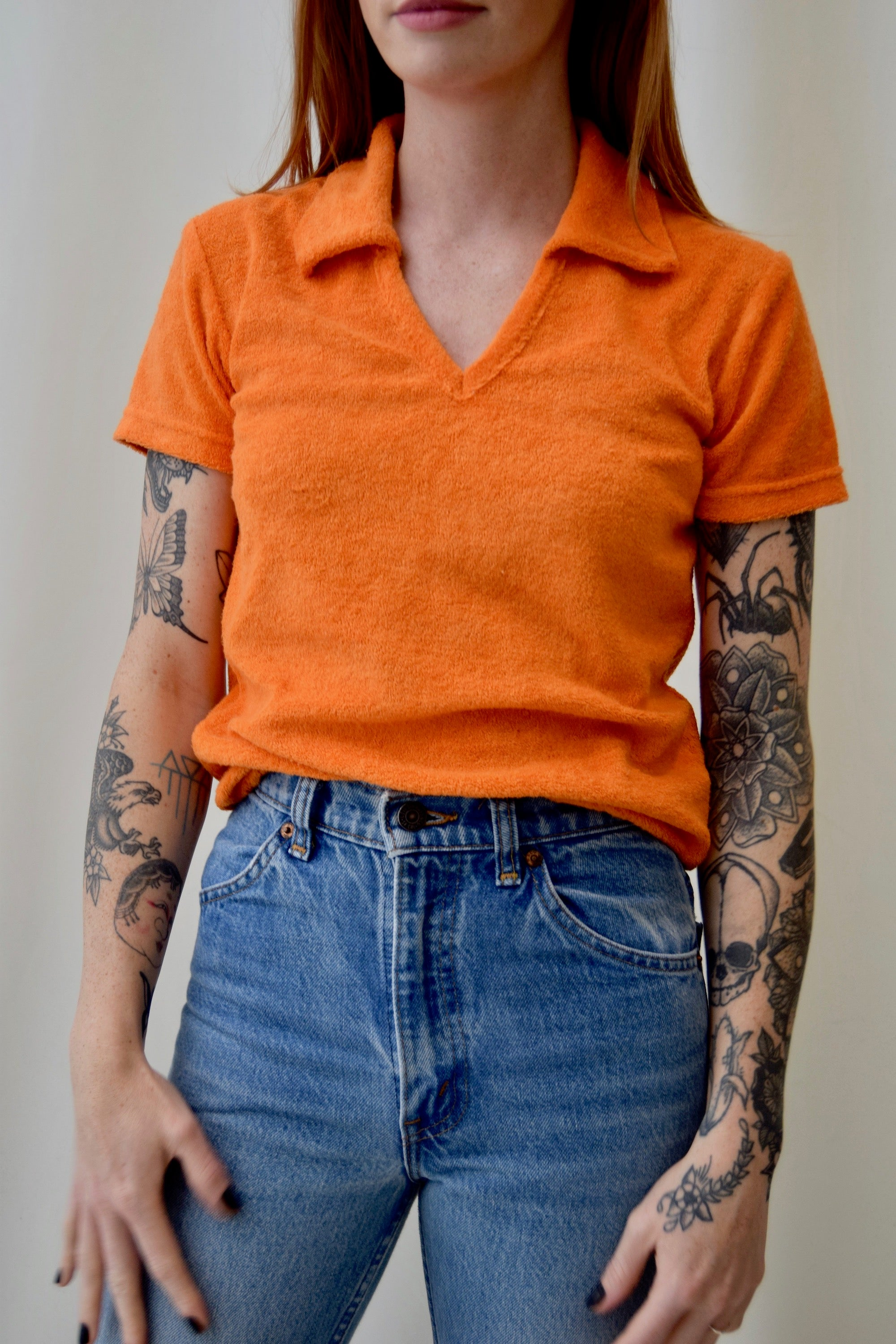 Tangerine Terry Cloth Top