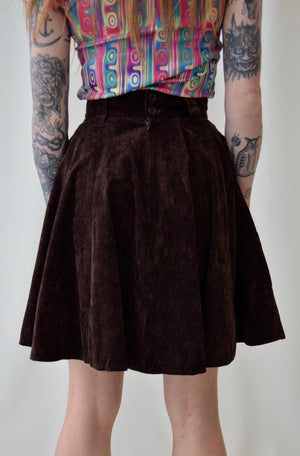 """Two Face Project"" Chocolate Brown Velvet Skirt"