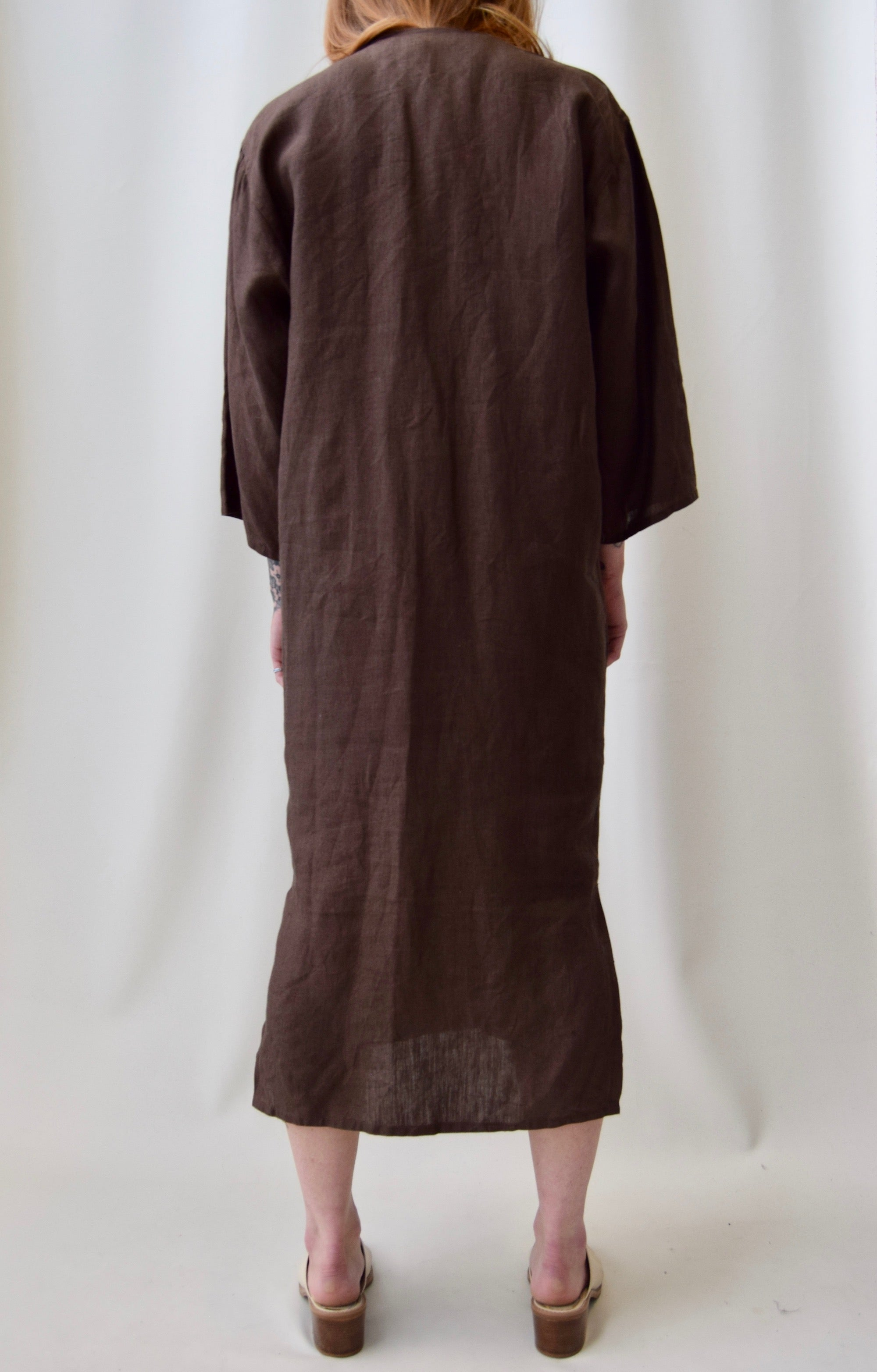 Brown Italian Linen Cocoon Dress