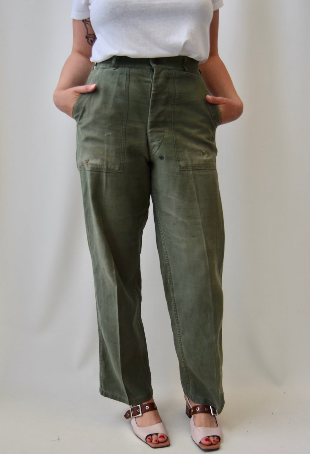 Vintage 60's Olive Military Trousers